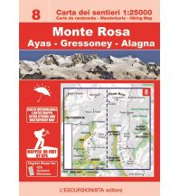 Wanderkarten Italien Escursionista-Karte 8, Monte Rosa, Ayas, Gressoney, Alagna 1:25.000 L'Escursionista
