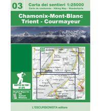 Carta dei sentieri 03, Chamonix-Mont-Blanc, Trient, Courmayeur 1:25.000 L'Escursionista