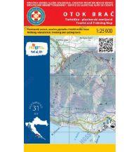 HGSS-Wander- & MTB-Karte Otok Brac 1:25.000 Hrvatska Gorska Sluzba Spasavanja