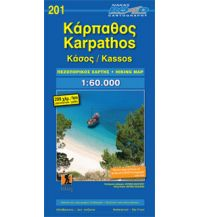Inselkarten Ägäis Road Hiking Map 201, Kárpathos, Kássos 1:60.000 Road Editions
