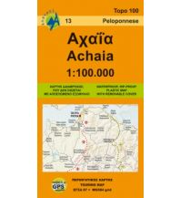 Straßenkarten Griechenland Anavasi Topo Map 100.13, Achaia (Peloponnes) 1:100.000 Anavasi Mountain Editions