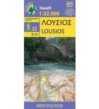 Wanderkarten Peloponnes Anavasi Topo 25 Map 8.51, Loúsios 1:22.000 Anavasi Mountain Editions