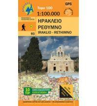 Straßenkarten Griechenland Anavasi Topo Map 100.93, Iráklio, Réthimno (Kreta) 1:100.000 Anavasi Mountain Editions