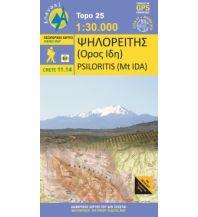 Wanderkarten Kreta Anavasi Topo Kreta 11.14, Psilorítis (Mt. Ida/Ida-Gebirge) 1:30.000 Anavasi Mountain Editions