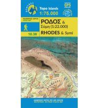 Inselkarten Ägäis Anavasi Topo Island Map 10.38, Rhodes/Ródos/Rhodos 1:75.000 Anavasi Mountain Editions