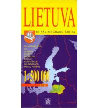 Straßenkarten Baltikum Jana Seta Map - Litauen Lietuva Lithuania  1:500.000 Jana seta Map Shop Ltd.